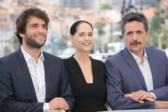 Humberto Carrao, Sonia Braga and director Kleber Mendonca Filho. Attend the 'Aquarius' photocall during the 69th Annual Cannes Film Festival at the Palais des stock photo