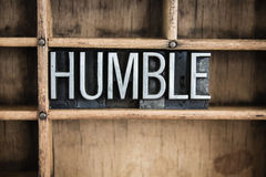 Humble Concept Metal Letterpress Word in Drawer Royalty Free Stock Image