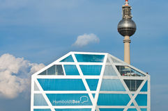 Humboldt-Box and Fernsehturm in Berlin. BERLIN - SEPTEMBER 17: Exhibition building Humboldt-Box on September 17, 2011 in Berlin. Humboldt-Box is a temporary royalty free stock image