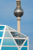 Humboldt-Box and Fernsehturm in Berlin. BERLIN - SEPTEMBER 17: Exhibition building Humboldt-Box on September 17, 2011 in Berlin. Humboldt-Box is a temporary royalty free stock photography
