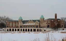 Humboldt Park Fieldhouse in Snow Royalty Free Stock Image