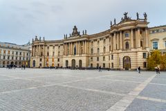 Humboldt University on Bebelplatz. Former Royal Library, now seat of Faculty of Law. Berlin. Germany. Berlin, Germany - November 08, 2018: Humboldt University on royalty free stock photography