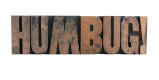 Humbug in letterpress wood type Royalty Free Stock Photo