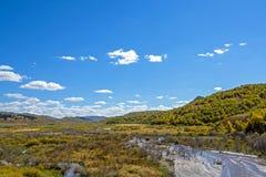 humedal y nubes en el otoño Fotos de archivo