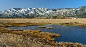 Humedales del desierto y picos nevados fotos de archivo libres de regalías