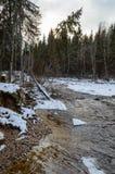 humedales escénicos con el lago o el río del país en invierno Imágenes de archivo libres de regalías