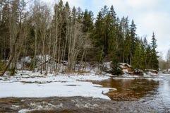 humedales escénicos con el lago o el río del país en invierno Fotos de archivo