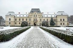 Humenne mansion. Manor house (slovak: kastiel) in Humenne, Slovakia. Winter photo Royalty Free Stock Photos