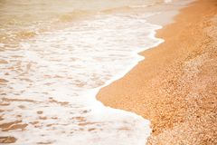 Humeur atmosphérique et mélancolique, fond brouillé Vue de plage de coquille et de vagues écumantes de mer Pour la maquette de co images libres de droits