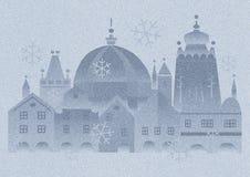 Humeur de Noël dans la ville historique, chutes de neige photo stock