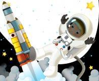 Humeur heureuse et drôle du voyage de l'espace - - illustration pour les enfants Images libres de droits
