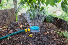 Humidification compost pile using sprinkler. Humidification compost pile using the spray, preparation of organic fertilizers Stock Images