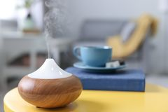 Humidifier on table stock images