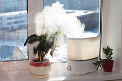 Humidifier on window Royalty Free Stock Photos