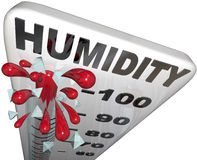Humidity Level Rate Rising 100 Percent Thermometer. The rising humidity rate level rising on a thermometer past 100 percent to tell you of danger or Royalty Free Stock Image