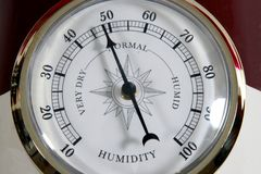 Humidity meter. Close-up image of humidity meter showing 48 percent Stock Photos