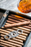 Humidor full of cigars, guillotine and cognac Royalty Free Stock Images