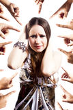 Humiliated woman with hands pointing at her Stock Image