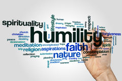 Humility word cloud. Concept on grey background Stock Photo