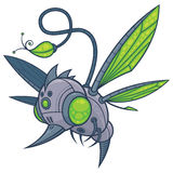 HUMM-BUZZ. Vector cartoon illustration of a flying robot drone with green eyes and wings. Sadly, he was designed to take the place of hummingbirds, bees and royalty free illustration