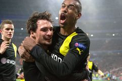 Hummels and team celebrates scored goal Royalty Free Stock Images