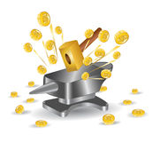 Hummer anvil money gold Stock Photo