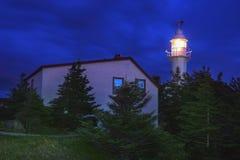 Hummer-Bucht-Kopf-Leuchtturm nachts lizenzfreies stockfoto