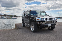 Hummer car on Helsinki seaside view Royalty Free Stock Image
