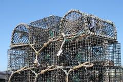Hummer- eller fiskkorgkrukor som staplas trevligt Royaltyfri Bild