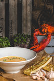 Hummer-Fischcremesuppen-Suppe Stockbild