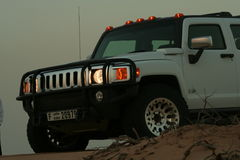 Hummer H3 in Desert. A Hummer H3 in the Desert of Dubai at Dusk Stock Image
