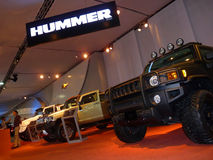 Hummer New Model Vehicles. Hummer SUV's on display during Dubai Motor Show 2009 at Dubai Int'l Convention and Exhibition Centre December 19, 2009 in Dubai Royalty Free Stock Image