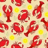 Hummer och krabba med citronen och dill vektor illustrationer