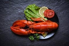 Hummer på plattaskaldjur med grönsaken och tomaten för citronsalladgrönsallat på mörk bakgrund royaltyfria foton