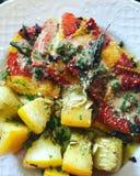 Hummer-Ravioli mit Zucchini Stockfotos