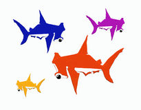 Hummer sharks. Four hummer sharks on white Vector Illustration