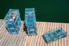Hummerblockeringar på en Dock Arkivbild