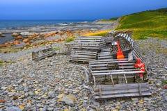 Hummerfällor, Gros Morne National Park, Newfoundland, Kanada royaltyfri fotografi
