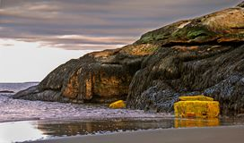 Hummerfällor på stranden i Maine med tidvatten och den steniga klippan arkivfoto