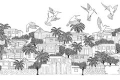 Humming birds in the Caribbean. Trinidad & Tobago - hand drawn black and white illustration of a Caribbean village with hummingbirds Royalty Free Stock Photography