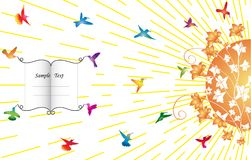 Humming-birds fly to the flowers. On a background sunbeams Royalty Free Illustration