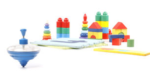 Humming top and many toys Royalty Free Stock Photo