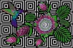 Hummingbird around flower protea exotic tropical summer blossom. Embroidery fashion patch decoration textile print black. White stripe geometric background Stock Photos