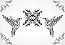 hummingbird Arte del tatuaje Bandera retra, invitación, tarjeta, reservación del pedazo camiseta, bolso, postal, cartel ilustración del vector