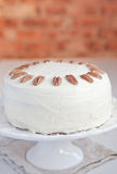 Hummingbird cake with pecans and cream cheese Stock Image
