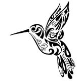 Hummingbird for coloring or tattoo Stock Images