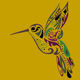Hummingbird for coloring or tattoo Royalty Free Stock Photo