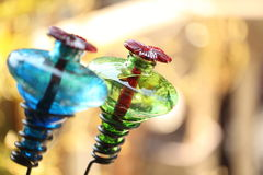 Hummingbird feeders on bokeh background Stock Images