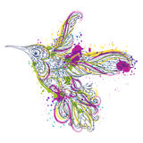 Hummingbird with floral ornament and abstract splashes in watercolor style. Tattoo art. stock illustration