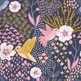 Hummingbird i Czereśniowego okwitnięcia Błękitnego tła Bezszwowy wzór royalty ilustracja
